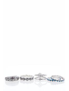 Silver Blue Etched Ring Set by Cato