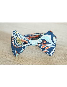 Navy Blue Damask Bow Tie   Blue Bow Tie   Floral Bow Tie   Wedding Bow Ties   Ring Bearer Bow Tie   Colorful Bow Tie   Blue Bowtie   Bowtie by Etsy