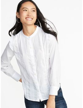 Ruffled Shoulder Lace Trim Shirt For Women by Old Navy