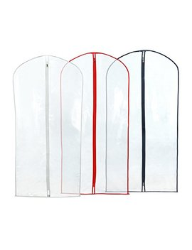 "Hangerworld 40"" Showerproof Suit Garment Cover Bags, Pack Of 12, Clear With Mixed Trim Colors by Hangerworld"