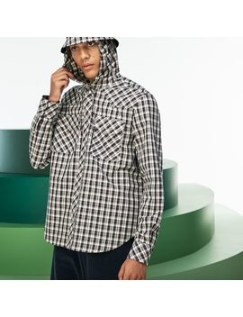 Men's Fashion Show Hooded Check Poplin Shirt by Lacoste