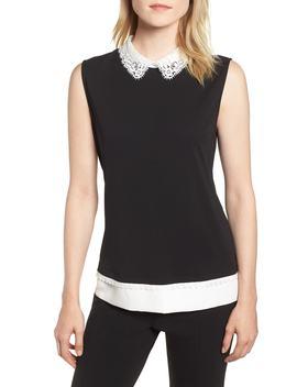 Lace Collar Knit Tank by Karl Lagerfeld Paris