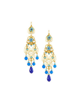 Long Filigree Earrings, Blue by Jose & Maria Barrera
