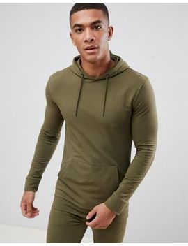 New Look Muscle Fit Hoodie In Khaki by New Look