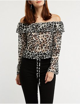 Off The Shoulder Leopard Top by Charlotte Russe