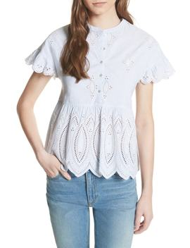 Cerelia Eyelet Scallop Blouse by Joie