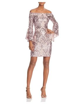 Sequin Off The Shoulder Dress   100 Percents Exclusive by Aqua