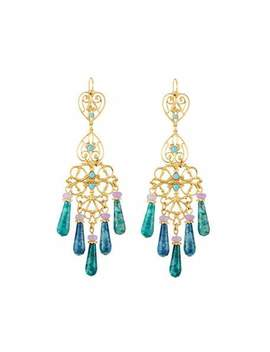 Agate & Crystal Filigree Chandelier Earrings, Blue by Jose & Maria Barrera