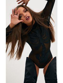 Black Skeleton Beaded Print Thong Bodysuit  by Prettylittlething