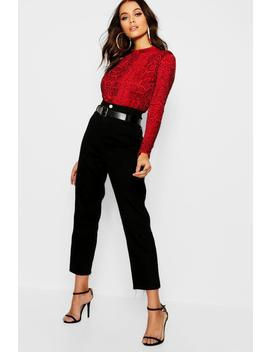Belted High Waist Mom Jeans by Boohoo