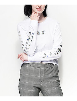 Vans Iridescent Box White Long Sleeve Crop T Shirt by Vans