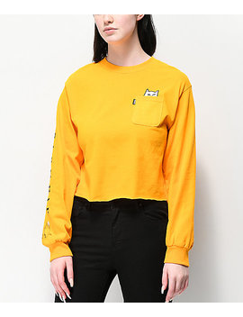 Ripndip Lord Nermal Gold Crop Long Sleeve T Shirt by Ripndip