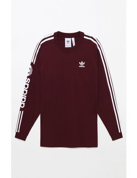 Adidas Graphic Maroon Long Sleeve T Shirt by Pacsun