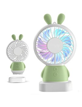 Handheld Small Fan Portable Rechargeable Mini Fan Thin Cooling Fan Multi Color Led Light Fan Cute Bear Fan Standable Hanging Fan Gifts For Home Travel Indoor Outdoor Baby Kids (Green Rabbit) by Kss Fire®
