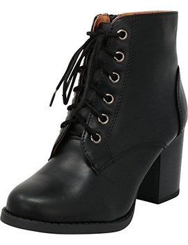 Cambridge Select Women's Zipper Lace Up Chunky Heel Ankle Bootie by Cambridge Select