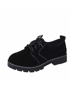 Sunmoot Black Lace Up Suede Ankle Boots Women Fashion Round Toe Flat Casual Shoes by Sunmoot Shoes