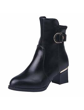 Sunmoot Leather Ankle Boots Women Fashion Zipper Round Toe Chunky High Heels Shoes by Sunmoot Shoes