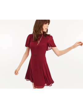 High Neck Chiffon Skater Dress by Oasis