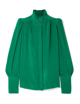 Lamia Ruffle Trimmed Silk Blouse by Isabel Marant