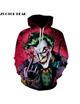 2019 Favorite Poker Clown 3 D Printed Men Hoodie Funny King Men Women Winter Sport Pullover Fashion Superhero Hip Hop Sweatshirts by Zootop Bear