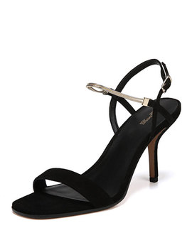 Frankie Suede Sandals With Chain Strap by Diane Von Furstenberg