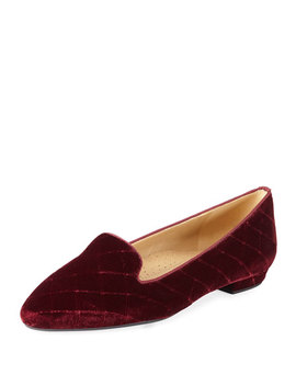 Glynda Quilted Velvet Loafer Flats, Bordeaux by Neiman Marcus
