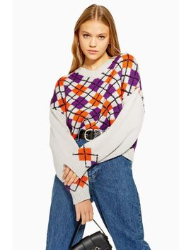 Argyle Cropped V Neck Jumper by Topshop