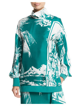 Leilani Printed Funnel Neck Silk Sweatshirt by Neiman Marcus