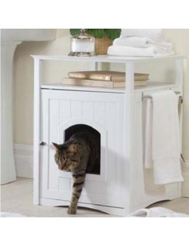 Cat Washroom Litter Box Cover / Night Stand Pet House, White by Zoovilla