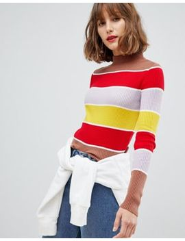 Asos Design High Neck Long Sleeve Rib Sweater In 70s Stripe by Asos Design