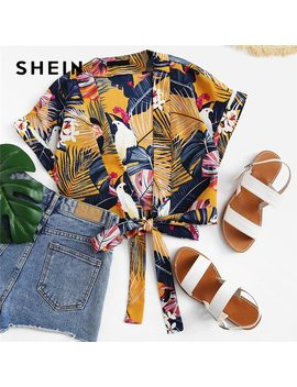 Shein Tie Front Deep V Neck Print Short Tops And Blouses 2018 Summer Women Boho Beach Vacation Sexy Floral Tropical Crop Tops by She In
