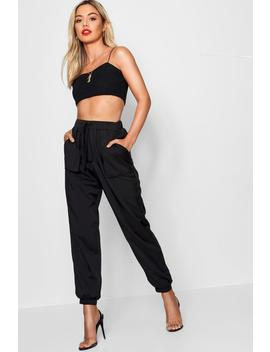 petite-woven-pocket-cargo-trouser by boohoo