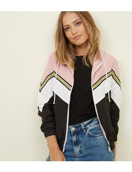 Pink Glitter Stripe Chevron Windbreaker Jacket by New Look