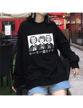 Korean Harajuku Lovely Anime Cartoon Hoodies Japanese Oversized Loose All Match Long Sleeve Female Street Fashion Sweatershirt by Himifashion