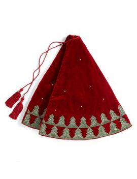 Velvet Beaded Christmas Tree Skirt by Sudha Pennathur