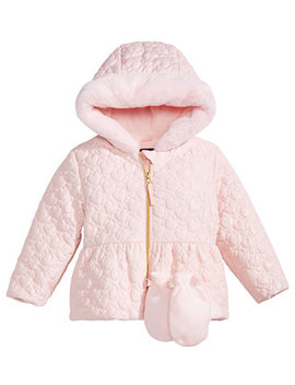 S. Rothschild Little Girls Hooded Quilted Jacket With Mittens by S Rothschild & Co
