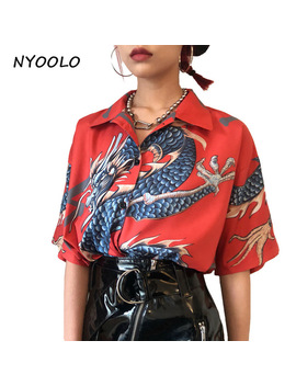 Nyoolo 2018 Summer Vintage Design Dragon Print Turn Down Collar Short Sleeve Shirt Men And Women Japan Style Casual Blouse  by Nyoolo