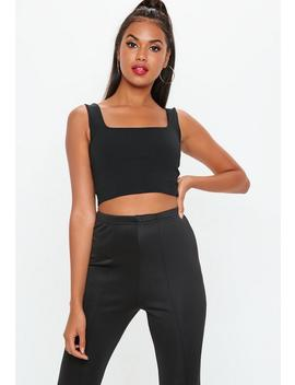 Black Square Neck Scuba Bralet by Missguided