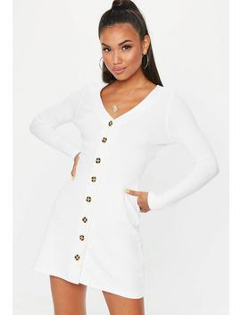 White Ribbed Button Long Sleeve A Line Dress by Missguided