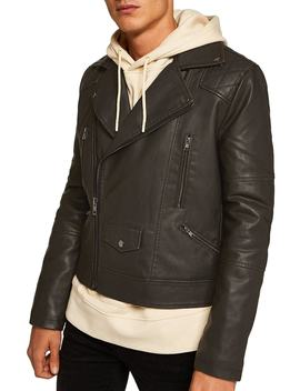 Classic Fit Faux Leather Biker Jacket by Topman