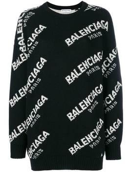 Balenciaga Jacquard Logo Crewneck Sweaterhome Women Balenciaga Clothing Knitted Sweaters by Balenciaga
