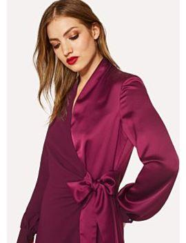 Women's Satin Burgundy Wrap Long Sleeve Dress by Paul Smith
