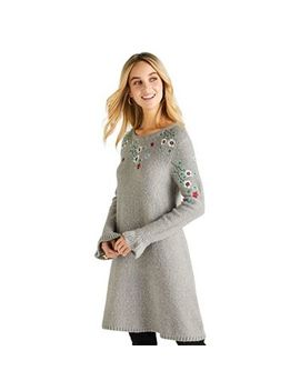 Yumi   Dark Grey Floral Knitted 'arneta' Tunic Dress by Yumi
