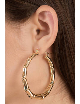 Into The Wild Gold Bamboo Hoop Earrings by Tobi