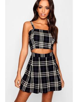 Check Woven Crop Top by Boohoo