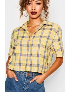 Cropped Check Shirt by Boohoo