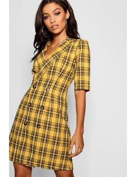 Check Button Blazer Dress by Boohoo