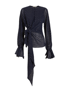 Metallic Wrap Blouse by Jonathan Simkhai