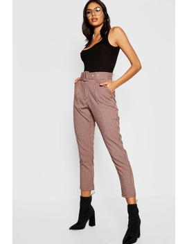 Check Belted Tapered Trouser by Boohoo