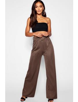 Petite Dogtooth Check Belted Wide Leg Trouser by Boohoo